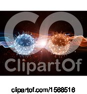 Clipart Of Blue And Orange Virus Cells With A Burst Of Light Royalty Free Illustration