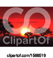 Clipart Of A 3d Red Sunset And Silhouetted Trees Royalty Free Illustration