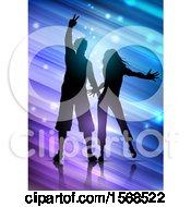 Silhouetted Couple Dancing Over Diagonal Lights