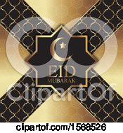 Clipart Of An Eid Mubarak Background In Gold And Black Royalty Free Vector Illustration by KJ Pargeter