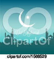 Poster, Art Print Of Eid Mubarak Background With A Crescent Moon And Mosque