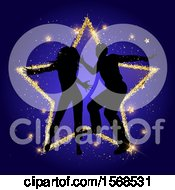 Silhouetted Couple Dancing Over A Gold Star