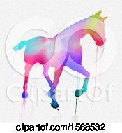 Dripping Colorful Watercolor Painted Horse On A White Background