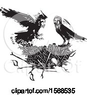 Clipart Of A Nest And Black And White Crows With Heads Of Men Royalty Free Vector Illustration