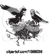 Clipart Of A Nest With Dollar Symbols And Black And White Crows With Heads Of Men Royalty Free Vector Illustration