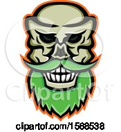 Clipart Of A Creepy Skull With A Mustache And Beard Royalty Free Vector Illustration