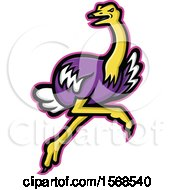 Clipart Of A Tough Ostrich Sports Mascot Royalty Free Vector Illustration