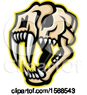 Clipart Of A Fierce Saber Toothed Cat Skull Royalty Free Vector Illustration