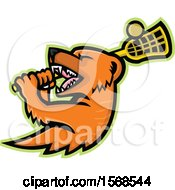 Clipart Of A Tough Mongoose Sports Mascot Holding A Lacrosse Stick Royalty Free Vector Illustration