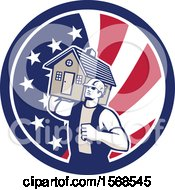 Retro Male Mover Holding A House In An American Flag Circle