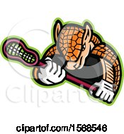 Clipart Of A Tough Armadillo Sports Mascot Holding A Lacrosse Stick Royalty Free Vector Illustration
