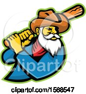 Clipart Of A Miner Mascot With A Baseball Bat Royalty Free Vector Illustration