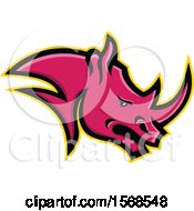 Clipart Of A Tough Pink Rhinoceros Sports Mascot Head In Profile Royalty Free Vector Illustration by patrimonio