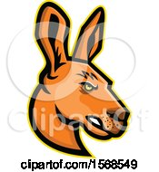 Clipart Of A Tough Profiled Kangaroo Mascot Face Royalty Free Vector Illustration