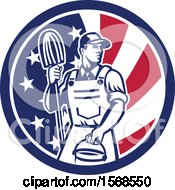 Retro Male Janitor With A Mop And Bucket In An American Flag Circle
