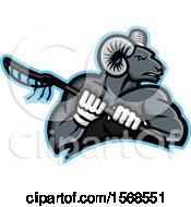 Clipart Of A Tough Bighorn Ram Sports Mascot Holding A Lacrosse Stick Royalty Free Vector Illustration