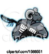 Tough Bighorn Ram Sports Mascot Holding A Lacrosse Stick