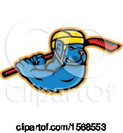 Clipart Of A Tough Blue American Bully Dog Wielding A Hockey Stick Royalty Free Vector Illustration