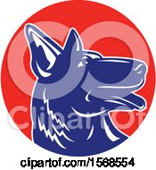Clipart Of A Profiled Woodcut Blue And White German Shepherd Dog In A Red Circle Royalty Free Vector Illustration