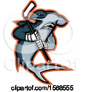 Clipart Of A Tough Hammerhead Shark Sports Mascot Holding An Ice Hockey Stick Royalty Free Vector Illustration