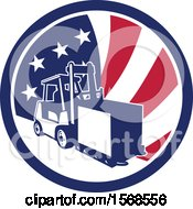 Retro Forklift Moving A Box In An American Flag Circle