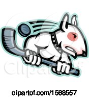 Clipart Of A Tough Bull Terrier Dog Wielding A Hockey Stick Royalty Free Vector Illustration