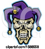 Clipart Of A Creepy Jester Face Skull Wearing A Hat Royalty Free Vector Illustration