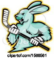 Tough Jackrabbit Sports Mascot Holding An Ice Hockey Stick