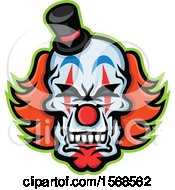 Clipart Of A Creepy Clown Skull Face With A Top Hat Royalty Free Vector Illustration