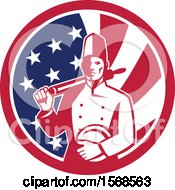 Clipart Of A Retro Male Chef With A Plate And Rolling Pin In An American Flag Circle Royalty Free Vector Illustration