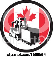 Retro Forklift Moving A Box In A Canadian Flag Circle
