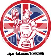 Retro Male Janitor With A Mop And Bucket In A Union Jack Flag Circle