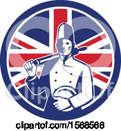 Clipart Of A Retro Male Chef With A Plate And Rolling Pin In A Union Jack Flag Circle Royalty Free Vector Illustration