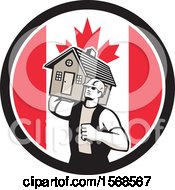 Clipart Of A Retro Male Mover Holding A House In A Canadian Flag Circle Royalty Free Vector Illustration