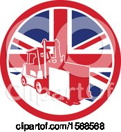 Clipart Of A Retro Forklift Moving A Box In A Union Jack Flag Circle Royalty Free Vector Illustration