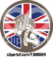 Clipart Of A Retro Male Mover Holding A House In A Union Jack Flag Circle Royalty Free Vector Illustration