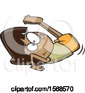 Cartoon Girl Performing A Backward Roll In Gymnastics