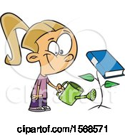 Clipart Of A Cartoon Girl Watering A Book Plant Royalty Free Vector Illustration