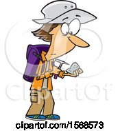 Clipart Of A Cartoon Geologist Inspecting A Rock Royalty Free Vector Illustration