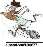 Cartoon Black Female Tennis Player Swinging Her Racket