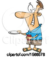 Clipart Of A Cartoon Happy Man Holding Out A Plate For A Burger Royalty Free Vector Illustration