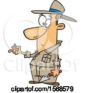 Clipart Of A Cartoon Male Archaeologist Holding A Specimen Royalty Free Vector Illustration
