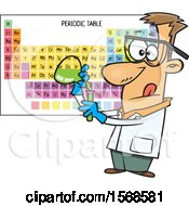 Cartoon Male Chemist Conducting An Experiment