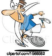 Clipart Of A Cartoon Energetic Man Playing Tennis Royalty Free Vector Illustration