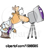 Cartoon Male Astronomer Viewing Through A Telescope