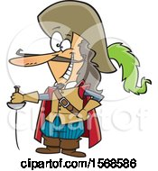 Clipart Of A Cartoon Man With A Sword And Long Nose Savinien De Cyrano De Bergerac Royalty Free Vector Illustration