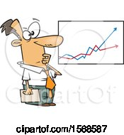 Clipart Of A Cartoon Economist Business Man Viewing A Growth And Decline Chart Royalty Free Vector Illustration