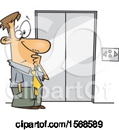 Clipart Of A Cartoon Business Man At An Elevator That Moves Sideways Royalty Free Vector Illustration