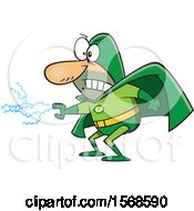 Cartoon Male Super Villain With Electricity Shooting From His Hand