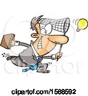 Cartoon Entrepeneur Business Man Chasing An Idea